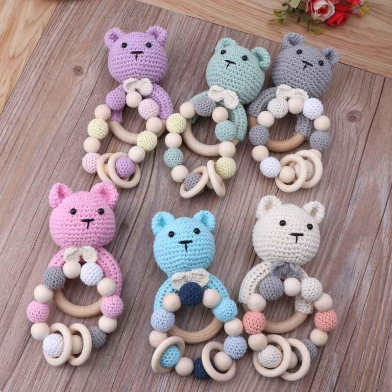 2 stuks Animal Haak Houten Ring Rammelaar Houten Bijtring Voor Baby Producten DIY Ambachten Tandjes Rammelaar Speelgoed