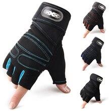 Мужские фитнес Кроссфит тренировки половина пальцев перчатки Нескользящие дышащие расширенные запястья поддержка Бодибилдинг Тяжелая атлетика, спорт
