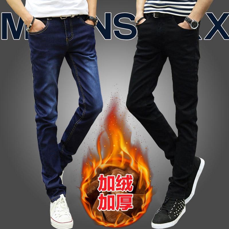 Winter Plus Velvet MEN'S Jeans Tight Type Elasticity Casual Warm Pants Men's Trousers Trousers Winter Style Cheap