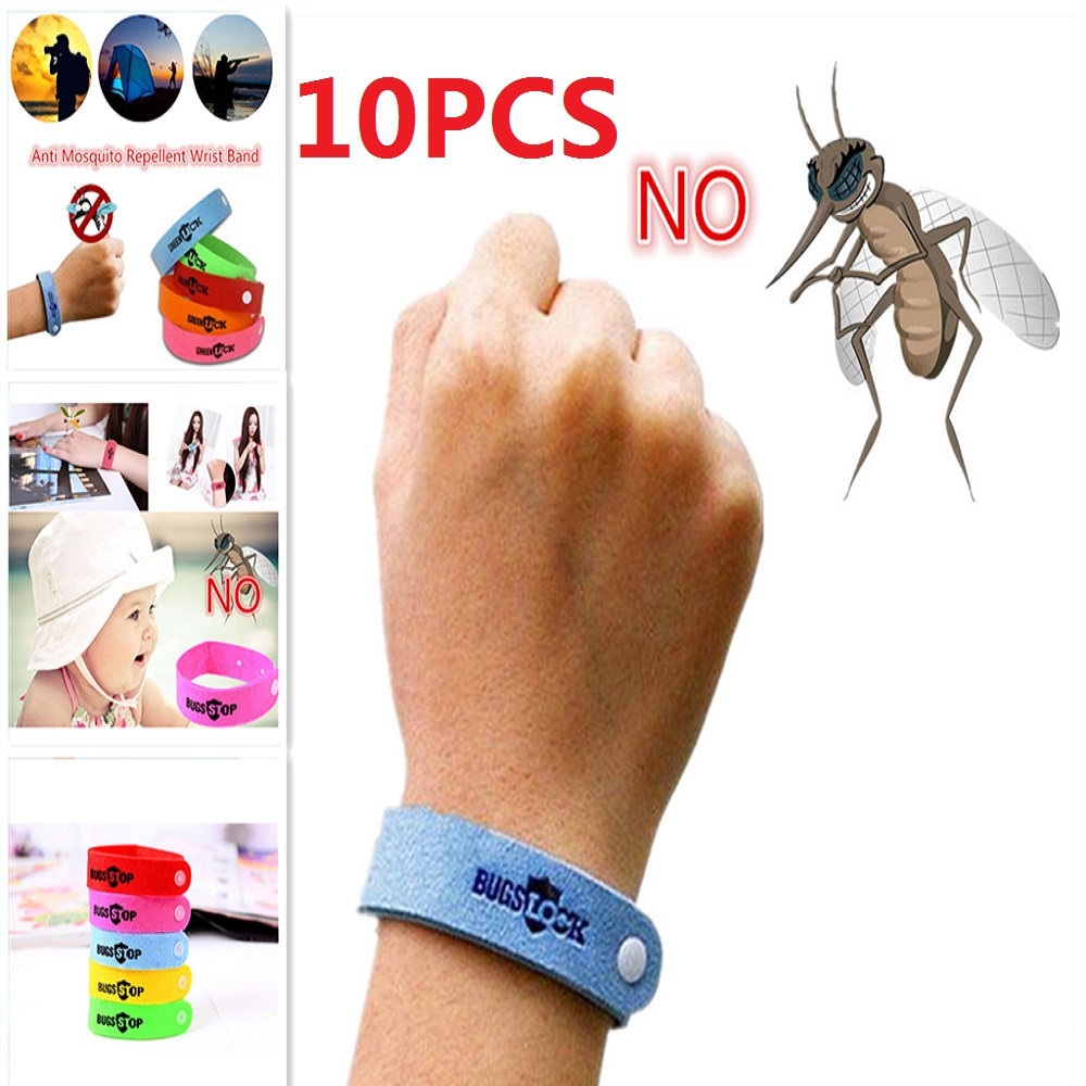 10Pcs  Eco Friendly Anti Mosquito Wristband Mosquito Insect Bugs Repellent Bracelet Safe For Children Home Outdoor Pest Reject