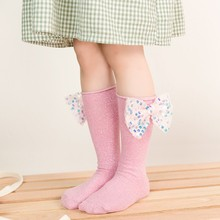 Newborn Kids Socks Baby Girls Spring Autumn Big Bow Knot Knee High Princess