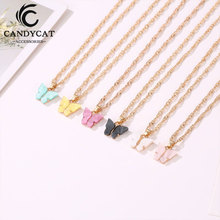 Fashion Statement Butterfly Gold Necklace For Women Necklaces Pendants Collares Mujer Jewelry Femme 2019 Bijoux Dropshipping trendy crystal statement necklaces pendants women jewelry multi link chain rhinestone necklace bijoux colares n316