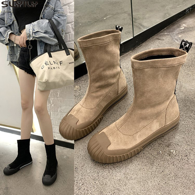 SWYIVY PU Womens Boots Ankle Round Toe Shoes Woman 2019 New Autumn Martin Boots Ladies Platform Women Shoes Flock Casual Booties