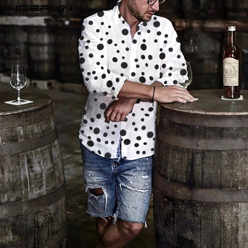 Fashion Men Polka Dot Long Sleeve Shirts Business Fitness Casual Lapel Button Blouse Streetwear INCERUN Camisas Hombre S-5XL