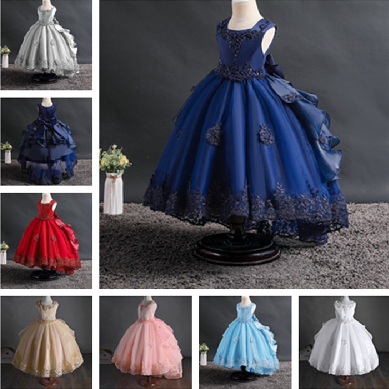 Cheap Kids Formal Flower Girls Dress Birthday Party Princess Dress Pageant Dresses For Girls First Holy Communion Dresses