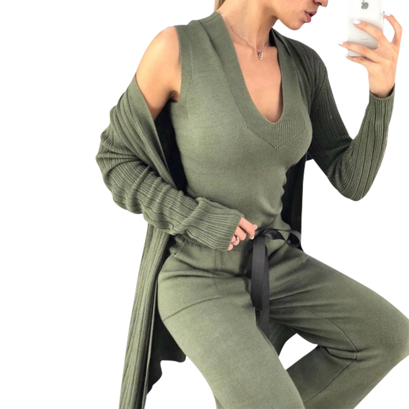 TAOVK Autumn Knitted 3 Pieces Set Women Long Sleeve Cardigan And Sleeveless Pullover Tops And Pants Suits