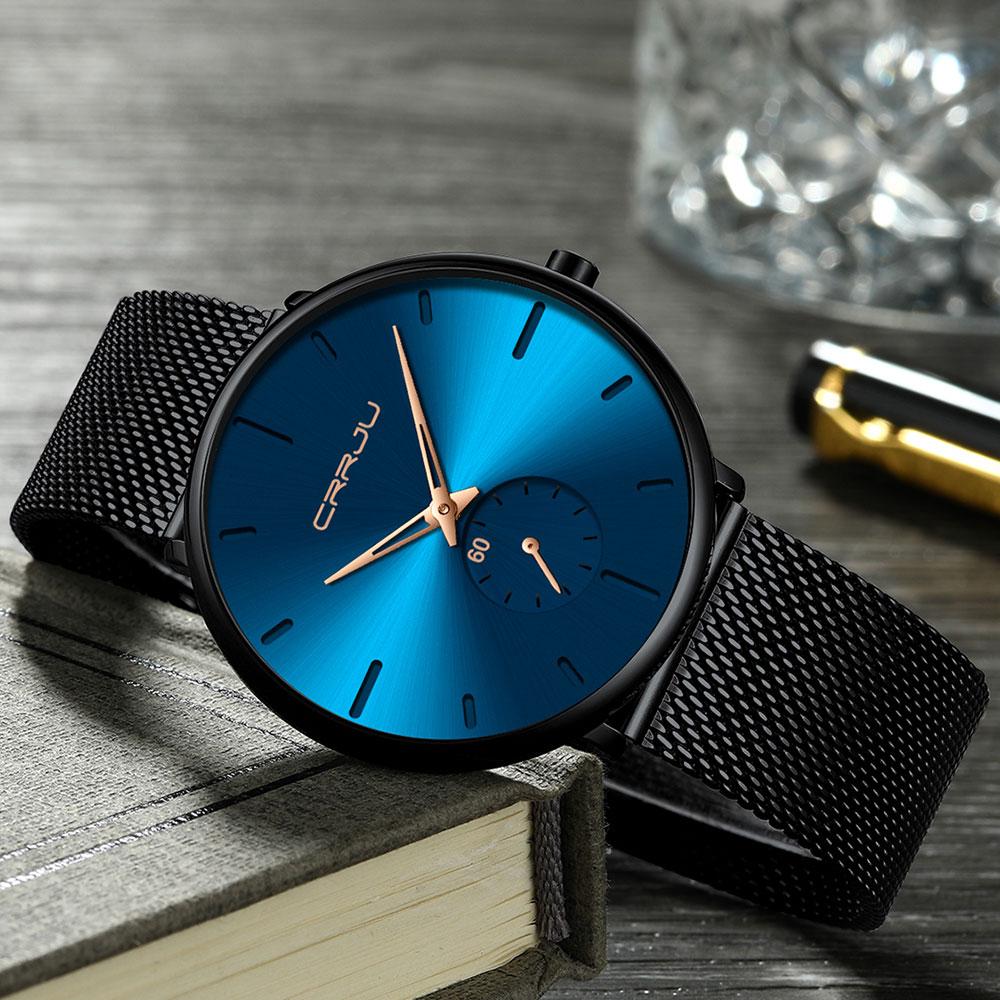 Hbb5cb901151d43fe8fc9263a8fb52d0cp CRRJU Ultra Thin Blue Stainless steel Quartz Watches Men Simple Fashion Business Japan Wristwatch Clock Male Relogio Masculino