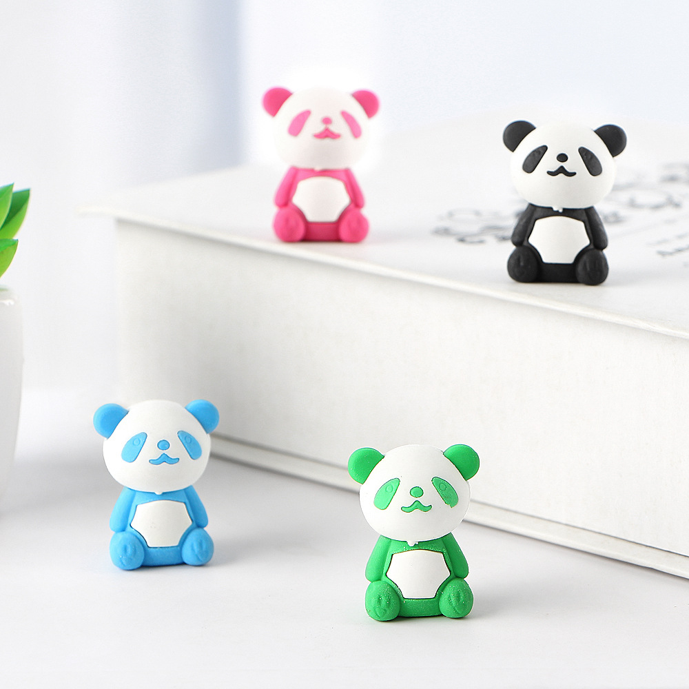 4 Pcs/lot Cute Cartoon Eraser Panda Pencil Eraser Children Office Stationery Gift Prizes Kawaii School Supplies