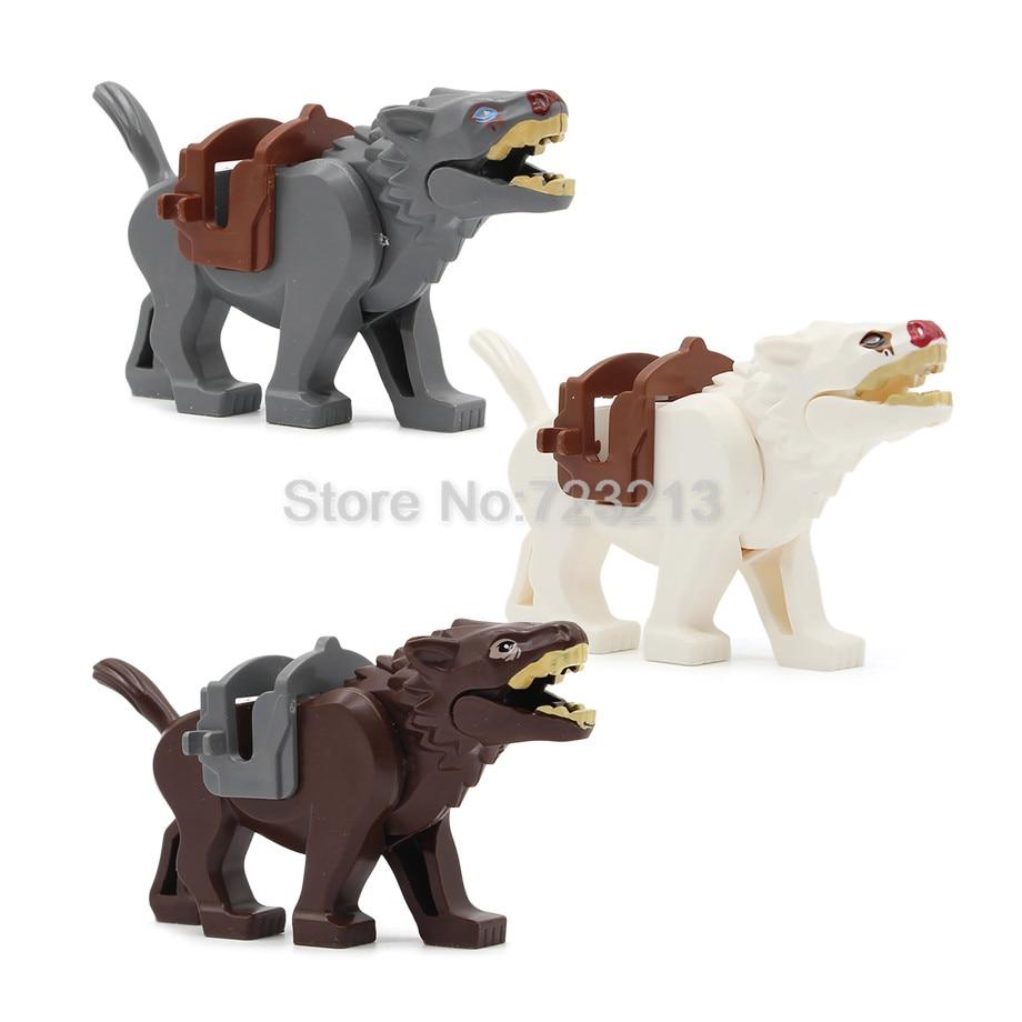 3pcs Wolf Movie Knight Horse Nazgul War Horse Figure Set Building Blocks Kids Toys For Children Legoing