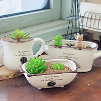 Heißer Verkauf Europäischen Vintage Sukkulenten Pflanzen Blumentopf Keramik Sukkulenten Töpfe Vasen Blumentopf Keramik Blumentopf Hause Decro-in Blumentöpfe & Pflanzkübel aus Heim und Garten bei