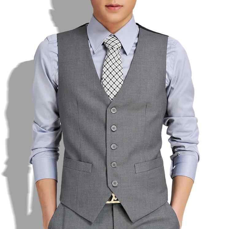 Nowy ślub wysokiej towary wysokiej jakości bawełny moda męska projekt garnitur kamizelka/szary czarny wysokiej klasy męska garnitur w stylu Business Casual kamizelka
