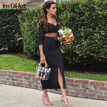 InstaHot Black Elegant Women Tracksuit Ribbed Knitted V-neck Crop Top Long Sleeve Slit Hem Skirt Casual Autumn Two Piece Set