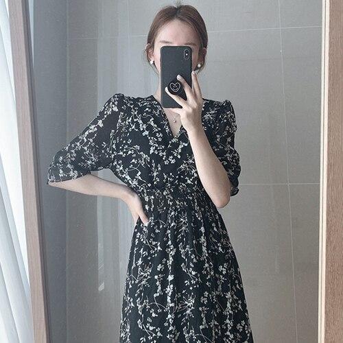 Gaganight Women Retro Floral Dress Cross V Neck Wooden Ear Slim Long Vestido Summer Elegant Chiffon Short Sleeve Dresses Femme 8