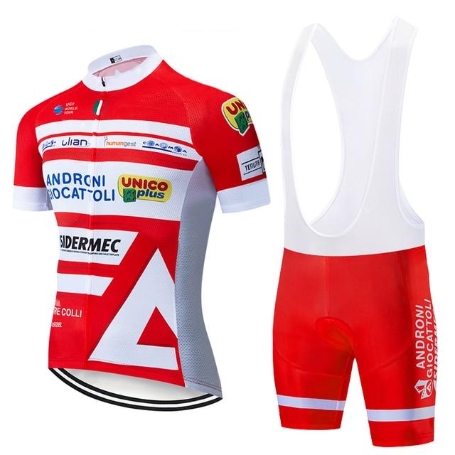 Equipe 2020 vermelho androni ciclismo jérsei 20d calções de bicicleta conjunto ropa ciclismo men verão secagem rápida pro roupas maillot