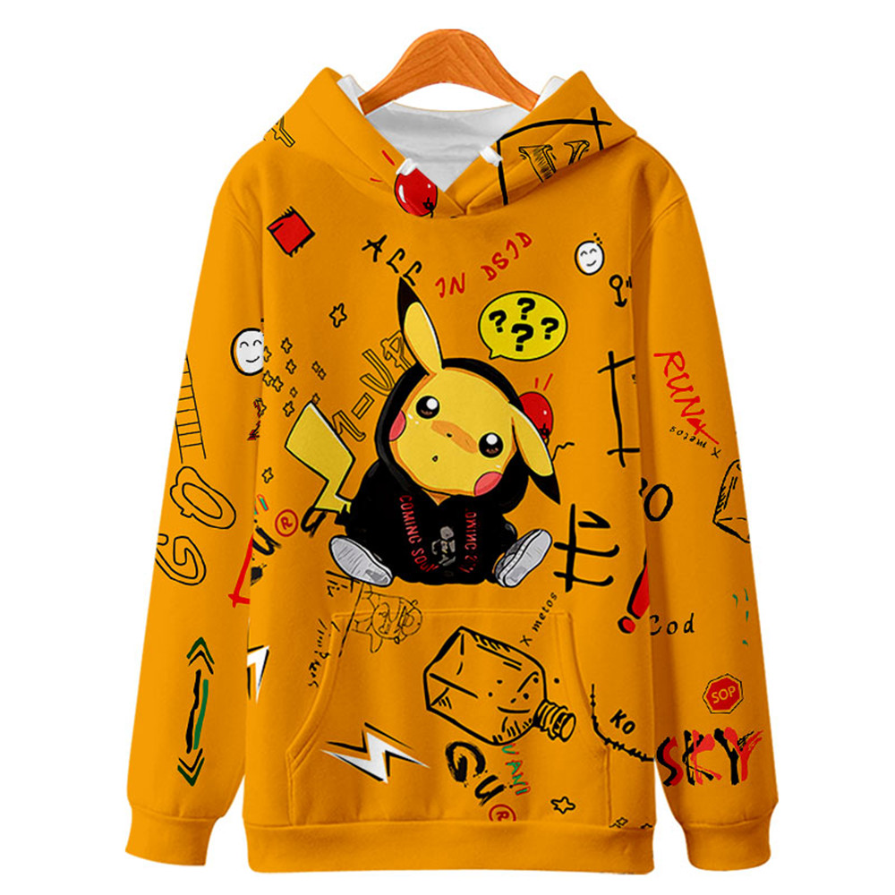 2020 New Pikachu Hoodies Kpop Pokemon Hoodie Hip Hop 3D Pokemon Print Hooded Causal Pullovers Clothes For Men And Women
