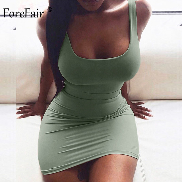 Forefair Solid Summer Dress Sexy Square Neck Casual Close Fitting Off Shoulder Short Bodycon Stretchy 2020 Dress Women 4