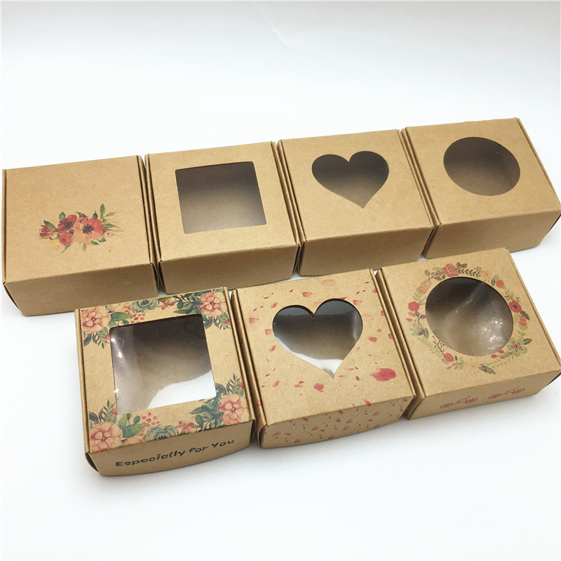 100Pcs Paper Handmade Soap Packaging Gift Boxes With Transparent PVC Windows Wedding Party Candy Chocolate Cookie Aircraft  Box
