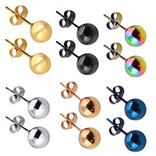 Stud-Earrings Ball Ear-Post Women Jewelry Stainless-Steel Silver-Color for 2-8mm/dia.