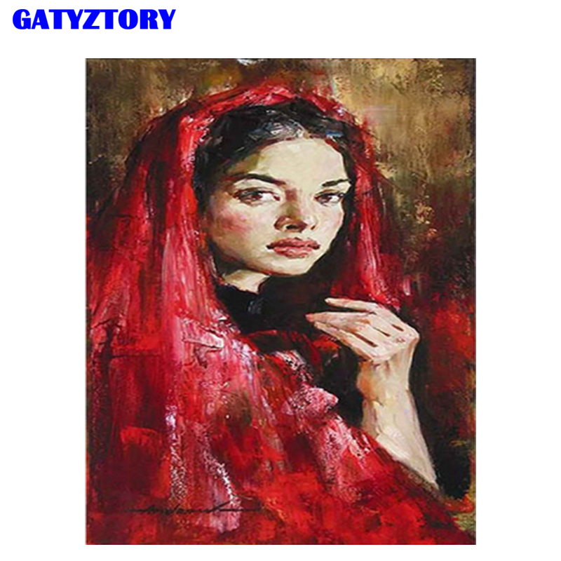 GATYZTORY Frame Red Figure Painting DIY Digital Painting By Numbers Kits Acrylic Hand Painted Modern Wall Art For Artwork