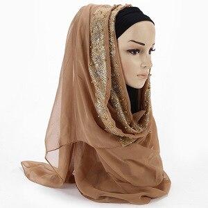 Image 4 - 2020 New Summer Islamic Muslim Rhinestone Lace Flower Scarf Shawl Hijab Women Solid Color Bubble Chiffon Turban Headband Scarves