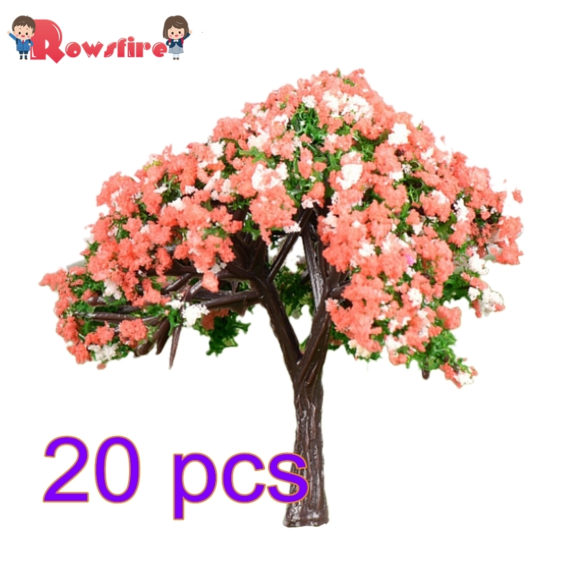Rowsfire 20pcs 5.8cm Ho 1:85 Scale Hibiscus Tree Model Railroad Architecture Diorama Tree For Diy Scenery Landscape