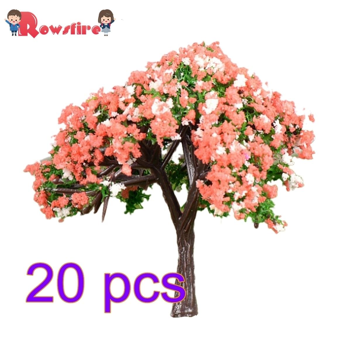 Rowsfire 20pcs 5.8cm Ho 1:85 Scale Hibiscus Tree Model Railroad Architecture Diorama Tree For Diy Scenery Landscape