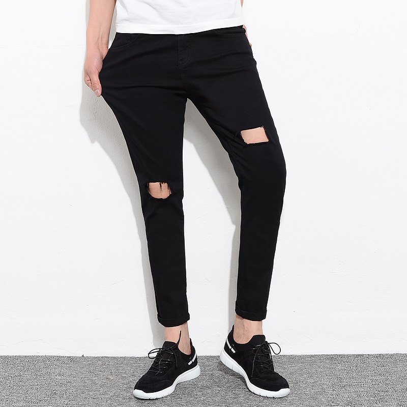 Hot Selling 2019 Spring And Summer New Style Men's Casual Pants Men's Black And White With Holes Men's Cool Solid Color Jeans Me
