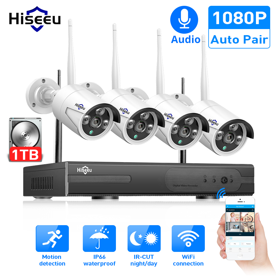 Hiseeu Cctv-System NVR Video-Surveillance-Kit Ip-Ir-Cut Outdoor 1TB 1080P 4pcs Wireless title=