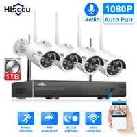 Hiseeu 8ch sistema de cctv sem fio 1080 p 1 tb 4 pçs 2mp nvr ip IR-CUT ao ar livre cctv câmera ip sistema segurança kit vigilância vídeo