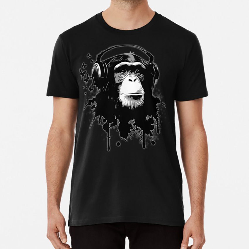 Monkey Business T shirt chimp monkey chimpanzee ape butterflies pattern splash headphones music