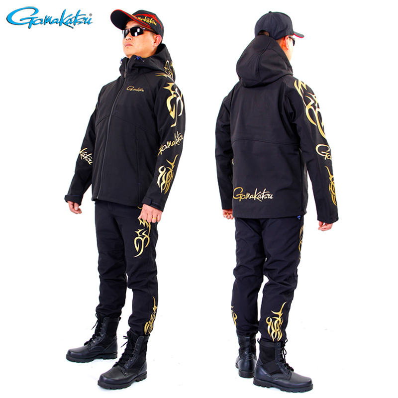 Gamakatsu Autumn Winter Fishing Suit Windproof Fishing Hooded Outdoor Camping Keep Warm Fishing Pants Hiking Ice Fishing Clothes