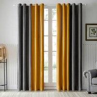 Cortinas opacas de terciopelo para sala de estar, accesorio moderno, gris y amarillo, empalme, cortina con costura