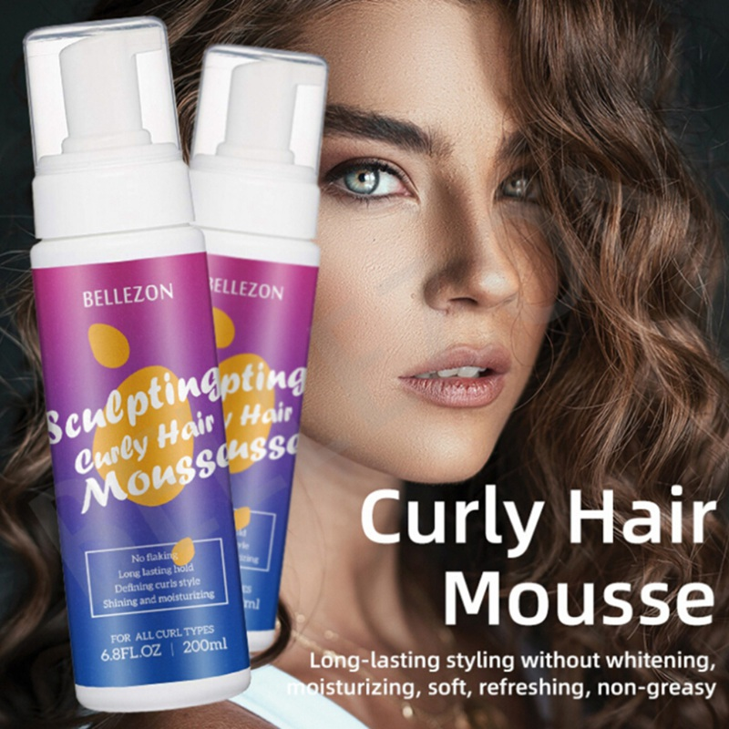 200ml Hair Foam Mousse Curly Hair Mousse Styling Strong Hold Hair Mousse Define Curly Hair Finishing Anti-Frizz Fixative