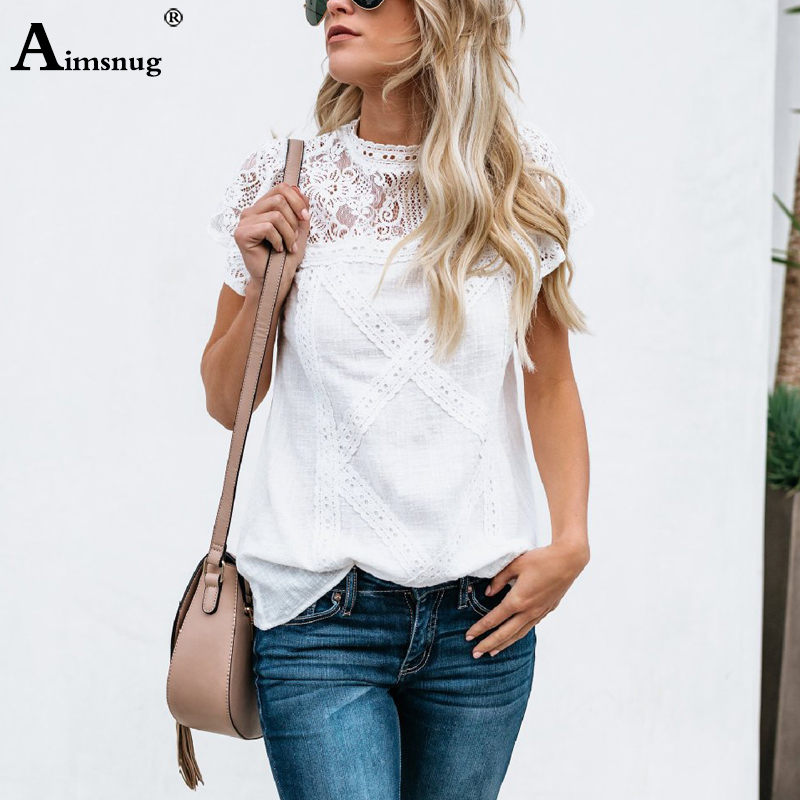 Aimsnug Women White Elegant T-shirt Lace Patchwork Female O-neck Hollow Out Shirt 2020 Summer New Solid Casual Women's Tops