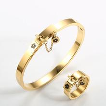 Luksusowa biżuteria ze stali nierdzewnej zestaw złota kobiety bransoletka kwiat urok pierścienie dla mężczyzn zestaw biżuterii damskiej prezent tanie tanio JINHUI STAINLESS STEEL CN (pochodzenie) Chłopcy Dziewczyny Mężczyźni Unisex MIŁOŚNICY Metal TRENDY Bangle Ring Bransoletki pierścień