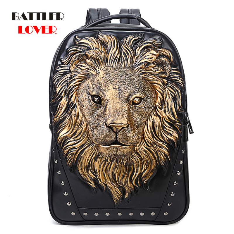 3D Embossed Lion Head Studded Rivet Gother Men Backpack Women Leather Soft Travel Punk Rock Backpack Laptop School Halloween Bag