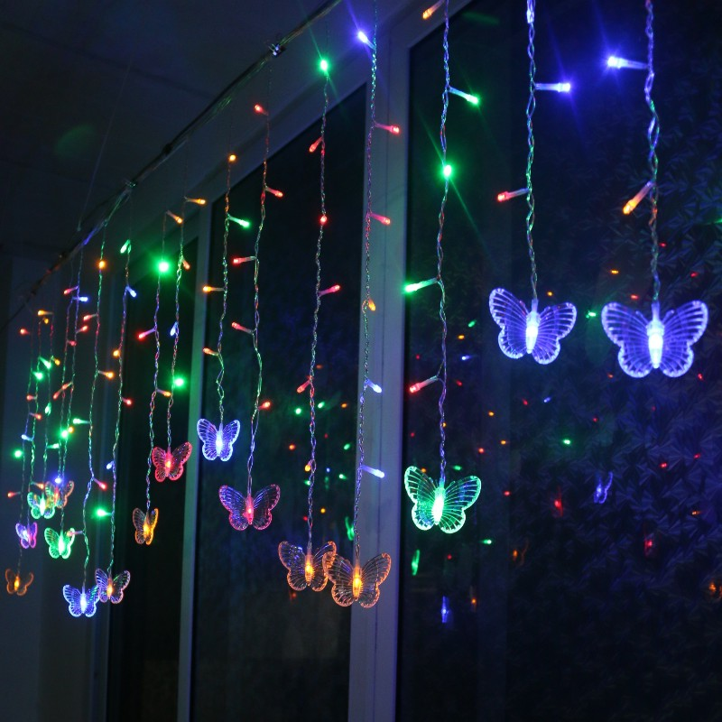 2019 New LED Butterfly Curtain Light Ices Strip Butterfly Pendant Light String Indoor Outdoor Decoration Christmas Wreath L5 #4