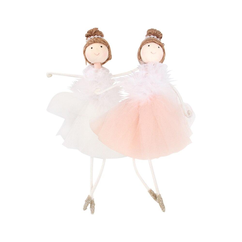 2Pcs Ballerina Mädchen Hängen Weihnachten Puppe Spielzeug Für Dekoration Weiß Und Rosa Hängen Anhänger Für Weihnachten Dekoration Weihnachten Baum