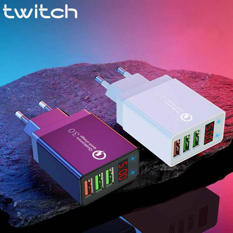 Twitch Led display Snel Charger Quick charge 3.0 QC 30W USB Charger voor iPhone 11 Telefoon Lader voor samsung s10 Xiaomi 9
