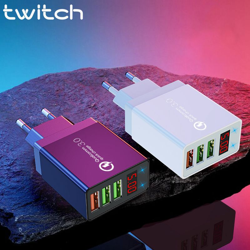 Twitch Led display Fast <font><b>Charger</b></font> Quick charge 3.0 QC <font><b>30W</b></font> <font><b>USB</b></font> <font><b>Charger</b></font> for iPhone 11 Phone Wall <font><b>Charger</b></font> for Samsung s10 Xiaomi 9 image