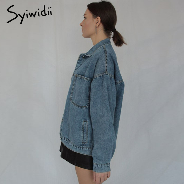Syiwidii Jean Jacket Women Clothes Oversized Jeans Denim Coat Korean Coats Spring Fall 2021 New Jackets for Women Solid Casual 3