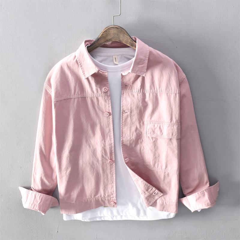 2019 New style brand shirts men autumn and spring pink shirt mens casual fashion shirts male comfortable shirt for men chemise