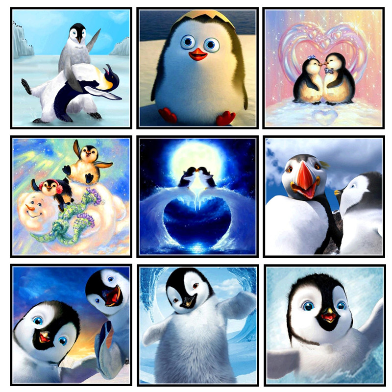 5D DIY full circle diamond painting painted cartoon animal penguin mosaic embroidery animal cross stitch embroidery crafts