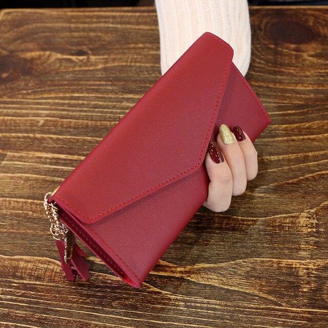 Женский кошелек с кисточками, длинный милый кожаный кошелек с кисточками, женские кошельки на молнии, Женский кошелек, клатч, Cartera Mujer - Цвет: Winered