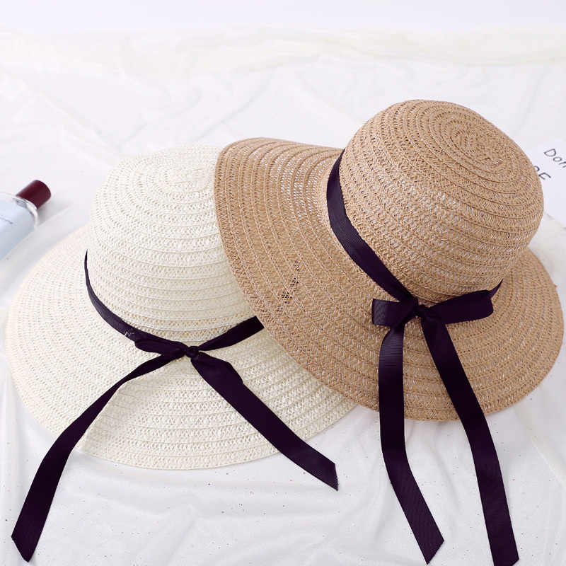 Summer Sun Hat Women Straw Cap Ladies White Chinese Khaki Korean Japanese Style Designer Sun Protection Hats