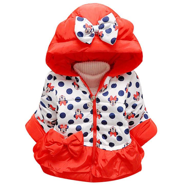 Детская зимняя куртка для детей 1-4 лет, повседневное пальто с капюшоном с Микки Маусом для мальчиков и девочек одежда для малышей Детская верхняя одежда, детская парка с Минни