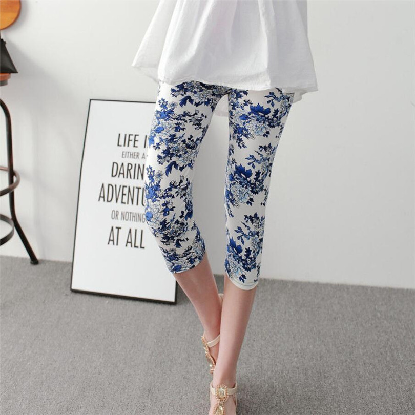 INDJXND Fitness Fashion Leggings Women Calf-Length Print Pants Women Capris Pantalones Soft Short Pants Women Summer Leggings