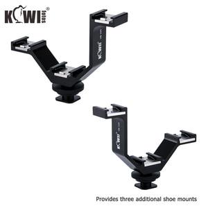 Image 5 - KIWI Triple Cold Shoe V Bracket Holder for Canon Nikon Sony Fujifilm Olympus Camera Microphone LED Light Flash Remote Receiver