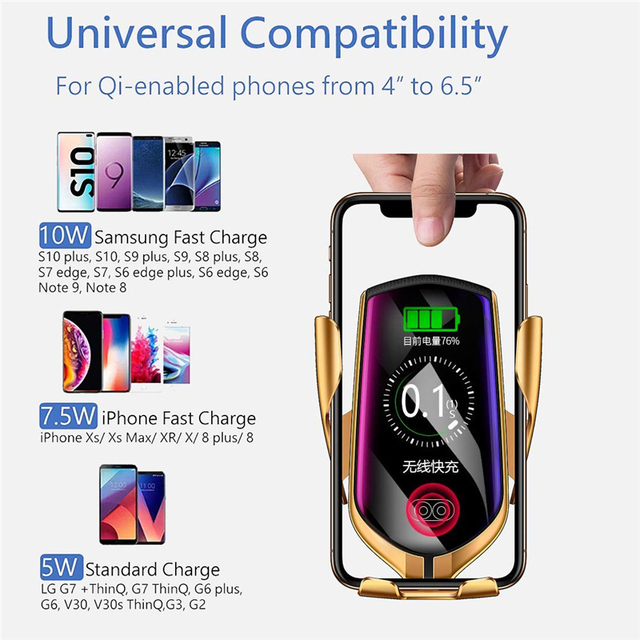 Automatic Clamping Infrared Auto Induction QI Car Wireless Charger Stand Fast Charging for IPhone 11 Pro Max XS Samsung S10 S20 6