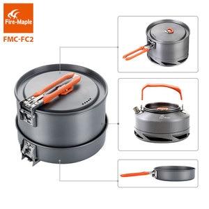 Image 2 - Fire Maple utensilios Camping senderismo cocina juego de Picnic Intercambiador de Calor olla Pan tetera FMC FC2 utensilios de cocina al aire libre vajilla